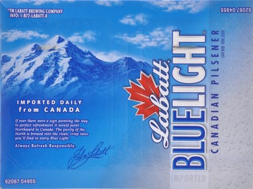 Labatt Blue Light Canadian Pilsner Perspective: top