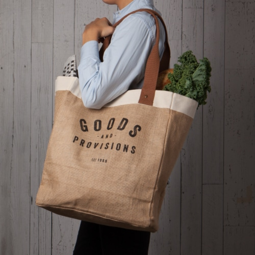 Now Designs Market Tote Jute Grocery Bag Goods and Provisions 13.5x17x8.5 inch Perspective: top