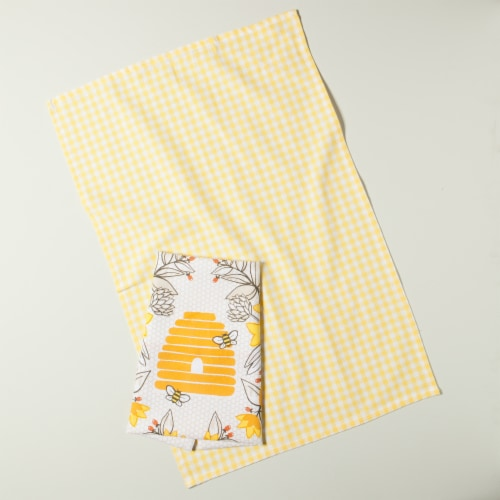 Now Designs 100% Cotton Woven Bee Print Kitchen Dish Towels Perspective: top