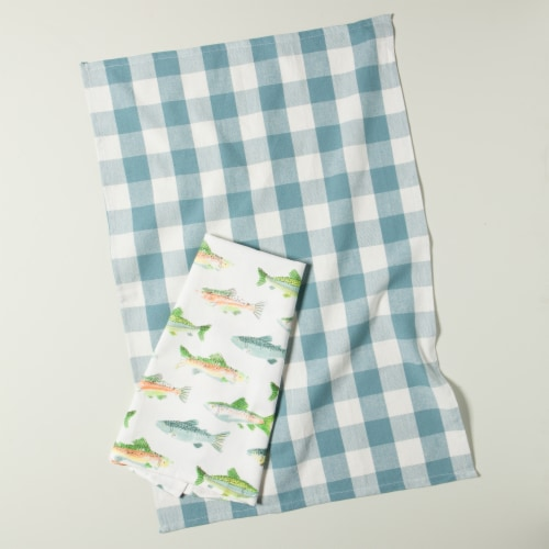 Now Designs Gone Fishin 100% Cotton Woven Printed Kitchen Dish Towels Perspective: top
