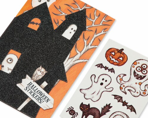 American Greetings Halloween Card with Stickers (Haunted House) Perspective: top