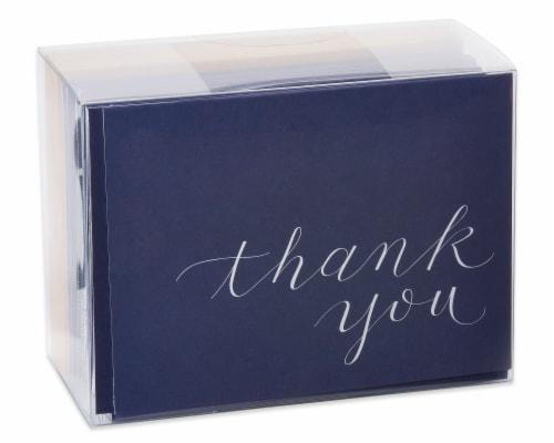 American Greetings Navy Blue Thank You Cards with Kraft-Style Envelopes Perspective: top