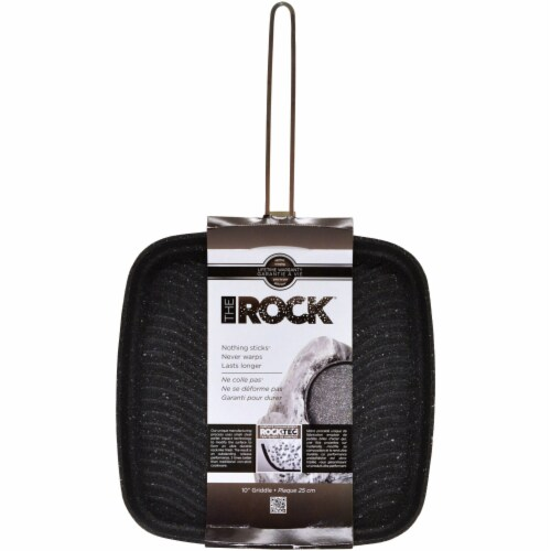 Starfrit The Rock 10-inch Grill Pan with Stainless Steel Wire Handle Perspective: top