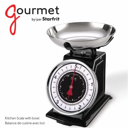 Gourmet By Starfrit 080211-003-0000 Retro Mechanical Kitchen Scale Perspective: top