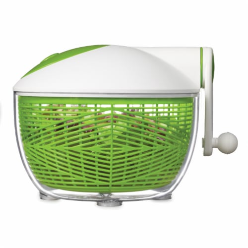 Starfrit 5 qt Salad Spinner, Green & White Perspective: top