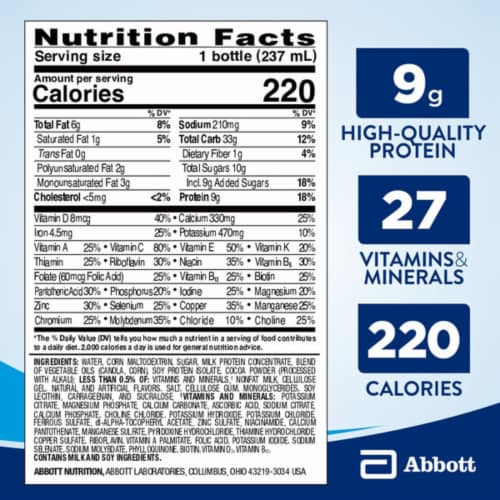 Ensure Original Milk Chocolate Ready-to-Drink Nutrition Shakes Perspective: top
