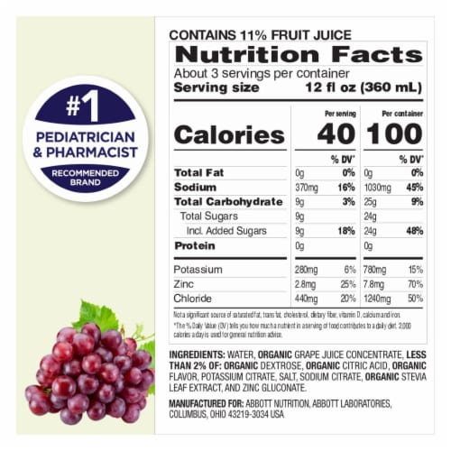 Pedialyte Organic Grape Electrolyte Solution Perspective: top