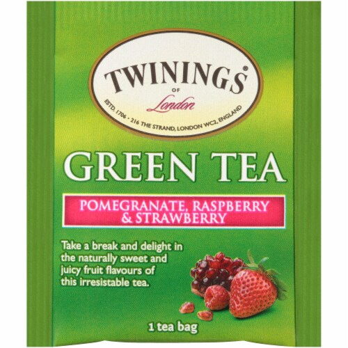 Twinings of London Pomegranate Raspberry & Strawberry Green Tea Bags Perspective: top