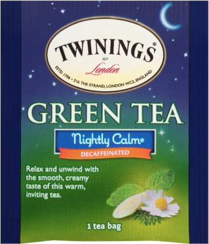 Twinings of London Nightly Calm Decaffeinated Green Tea Bags Perspective: top