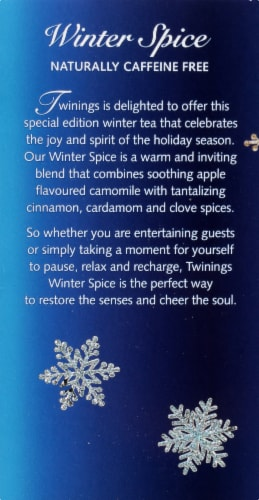 Twinings of London Winter Spice Caffeine Free Herbal Tea Bags 20 Count Perspective: top