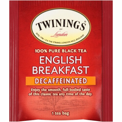 Twinings of London Decaffeinated English Breakfast Pure Black Tea Bags 25 Count Perspective: top