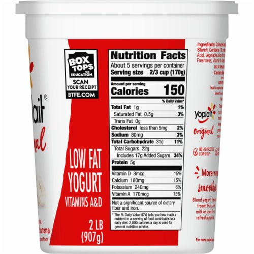 Yoplait Original Smooth Style Strawberry Banana Low Fat Yogurt Perspective: top