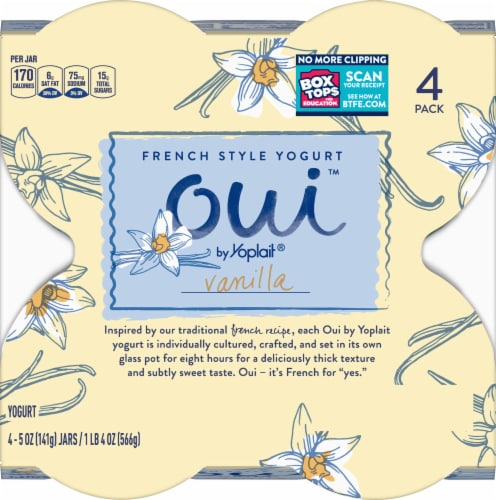 Oui by Yoplait Gluten Free Vanilla French Style Yogurt 4 Count Perspective: top