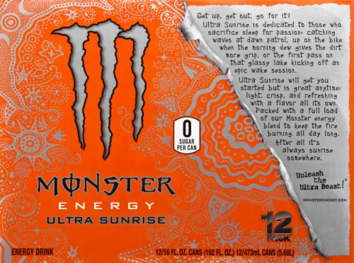 Monster Energy Ultra Sunrise Drink Perspective: top