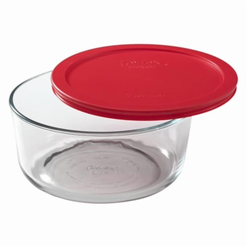 Pyrex Covered Round Storage Dish - Clear/Red Perspective: top