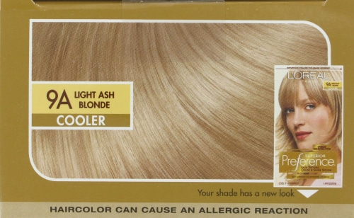 L'Oreal Paris Superior Preference Fade-Defying Shine Permanent Hair Color 9A Light Ash Blonde Perspective: top