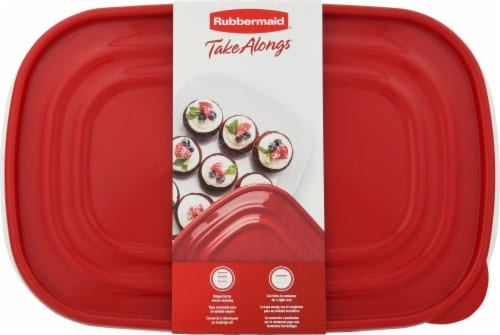 Rubbermaid TakeAlongs Large Rectangle Food Storage Containers - 2 Pack - Clear/Red Perspective: top