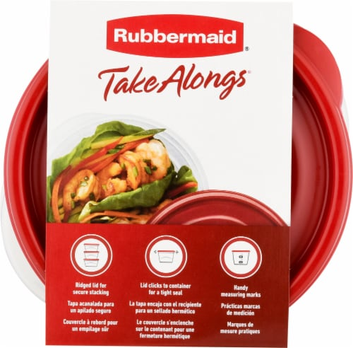 Rubbermaid TakeAlongs Small Bowls Food Storage Containers - 4 Pack - Clear/Red Perspective: top