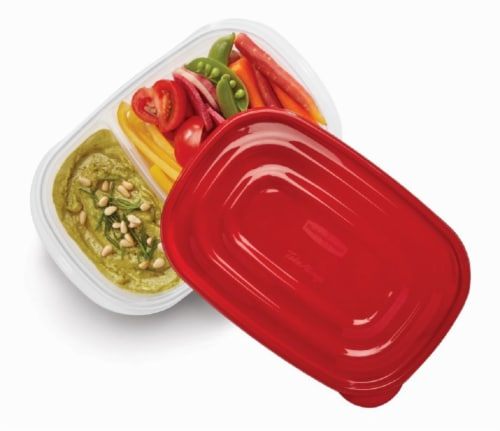 Rubbermaid® TakeAlongs Divided Rectangle Clear/Red Food Storage Containers - 3 Pack Perspective: top