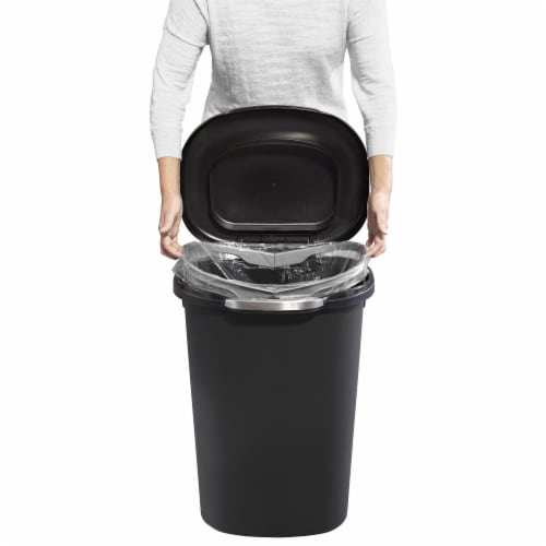 Rubbermaid Touch Top 13 Gallon Plastic Wastebasket Trash Can w/ Lid & Liner Lock Perspective: top