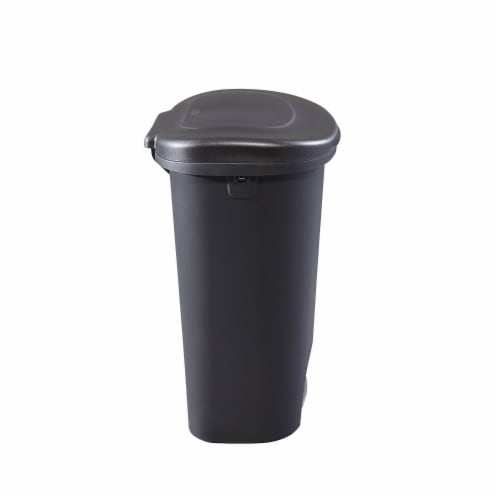 Rubbermaid Classic 13 Gallon Plastic Hands Free Step On Lid Trash Can, Black Perspective: top