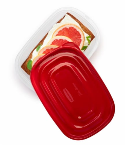 Rubbermaid TakeAlongs Deep Rectangle Food Storage Containers - Clear/Red - 2 Pack Perspective: top