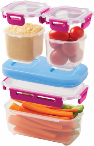 Rubbermaid LunchBlox® Leak-Proof Snack Container Kit - Red/Blue/Clear Perspective: top