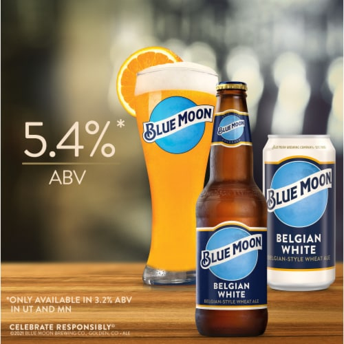 Blue Moon Belgian White Belgian-Style Wheat Ale Beer Perspective: top