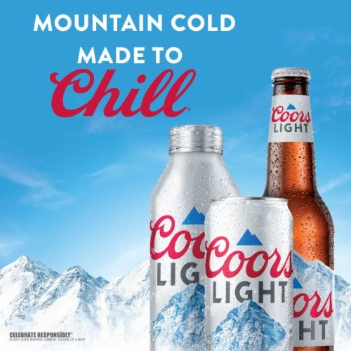 Coors Light American Light Lager Beer 4 Count Perspective: top