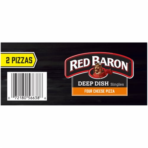 Red Baron Deep Dish Singles Four Cheese Pizza 2 Count Perspective: top