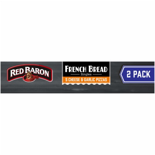 Red Baron Singles French Bread 5 Cheese and Garlic Pizza Perspective: top