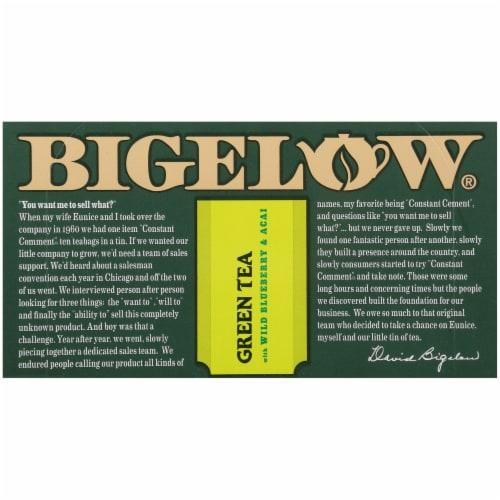 Bigelow Green Tea with Wild Blueberry & Acai Tea Perspective: top