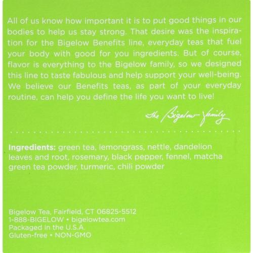 Bigelow Turmeric Chili Matcha Green Tea Herbal Tea K-Cup® Pods Perspective: top