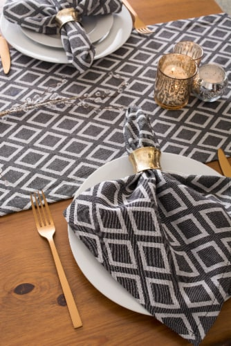 Dii Table Set Black And White Diamond (Set Of 7) Perspective: top