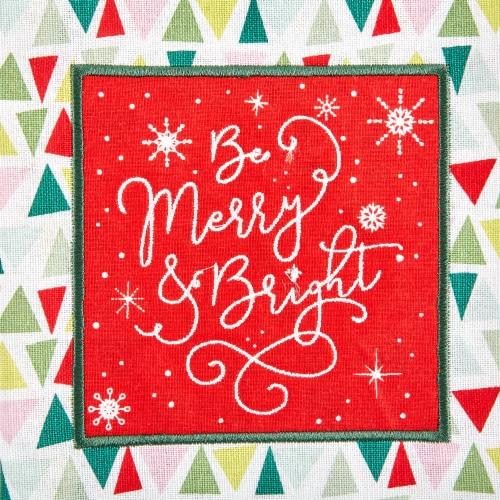 Design Imports Assorted Festive Christmas Embellished Dishtowel - Set of 3 Perspective: top