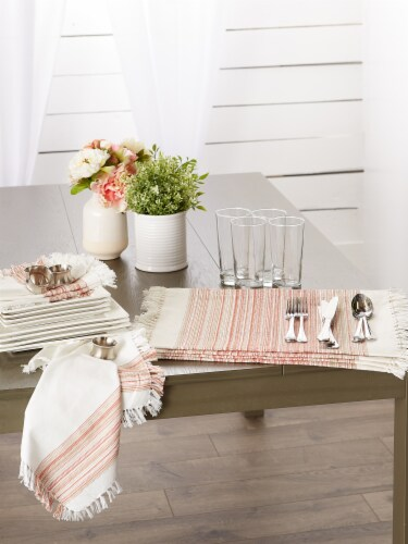 """Dii Fringed Stripe Tabletoppers, 20X20"""", Pimento, 6 Pieces Perspective: top"""