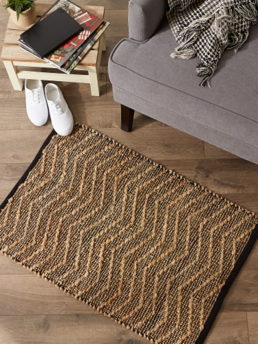 Dii Black With Natural Jute Chevron Hand-Loomed Rug Perspective: top