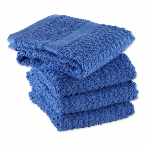 Solid Blueberry Waffle Terry Dishtowel Set/4 Perspective: top