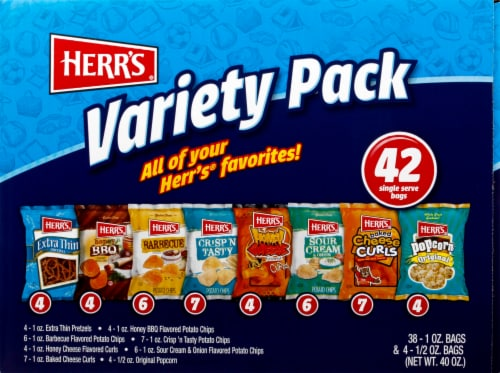 Herr's Potato Chips and Snack Bags Variety Pack 42 Count Perspective: top