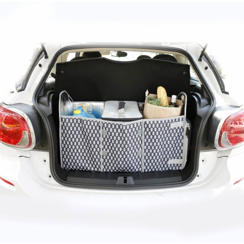 Homz Insulated 3 Section Trunk Organizer Storage Box with Cooler Bag, Gray/Black Perspective: top