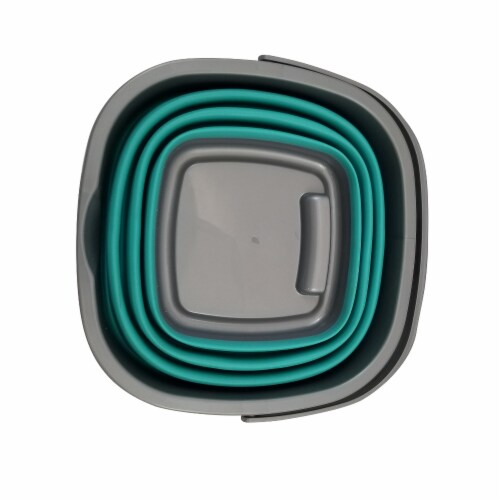 Homz Store N Stow Heavy-Duty Portable Collapsible Bucket - Teal/Gray Perspective: top