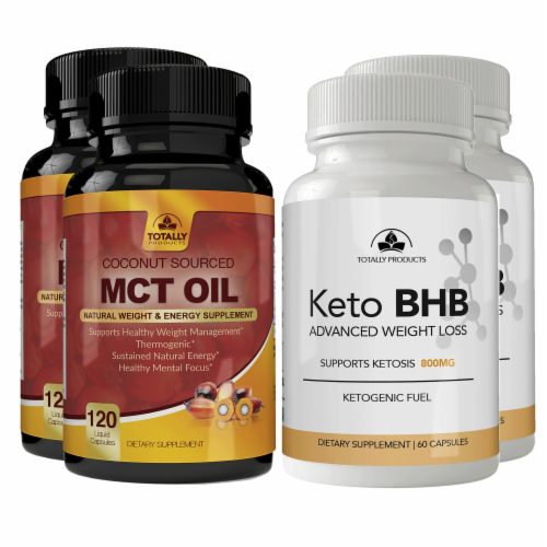 Totally Products Keto Slim BHB & Pure MCT Oil Combo Pack (3sets) Perspective: top