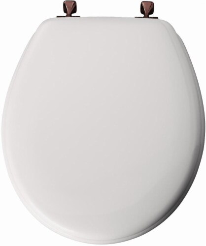Mayfair Round White Molded Wood Toilet Seat Perspective: top