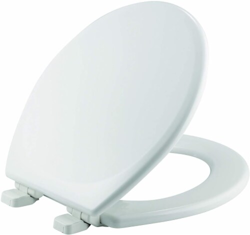 Mayfair White Round Enameled Wood Toilet Seat Perspective: top