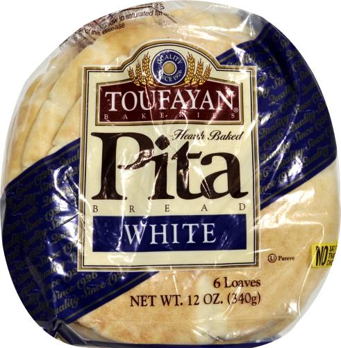 Toufayan Classic White Pita Loaves 6 Count Perspective: top