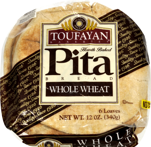 Toufayan Whole Wheat Pita Loaves 6 Count Perspective: top