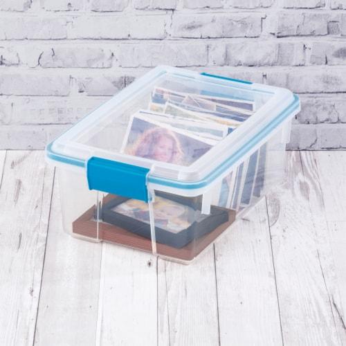 Sterilite Gasket Storage Box - Blue Aquarium Perspective: top
