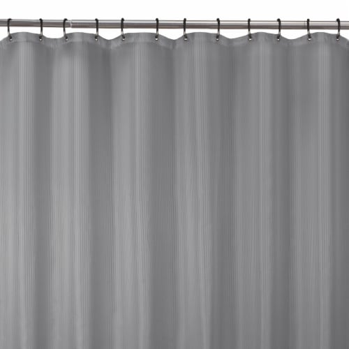 Zenna Home Striped Waterproof Fabric Shower Curtain Liner – Brown Perspective: top