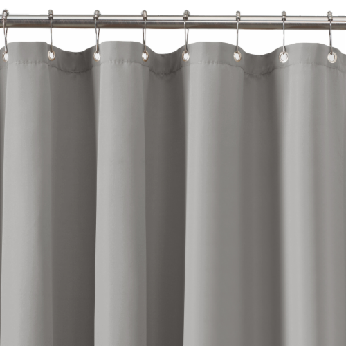 Zenna Home Waterproof Fabric Shower Curtain or Liner - Gray Perspective: top