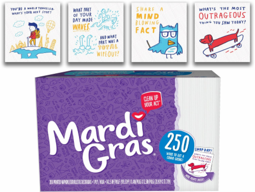 Mardi Gras Disposable Conversation Starter Prints Paper Napkins Perspective: top